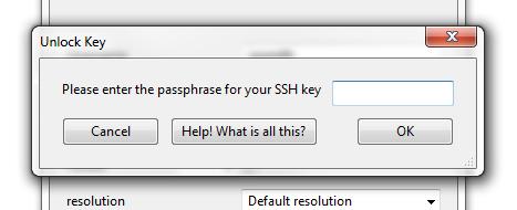 Screenshot of Strudel Desktop enter your SSH passphrase screen