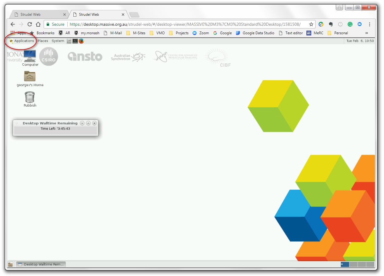 Screenshot of a CVL desktop