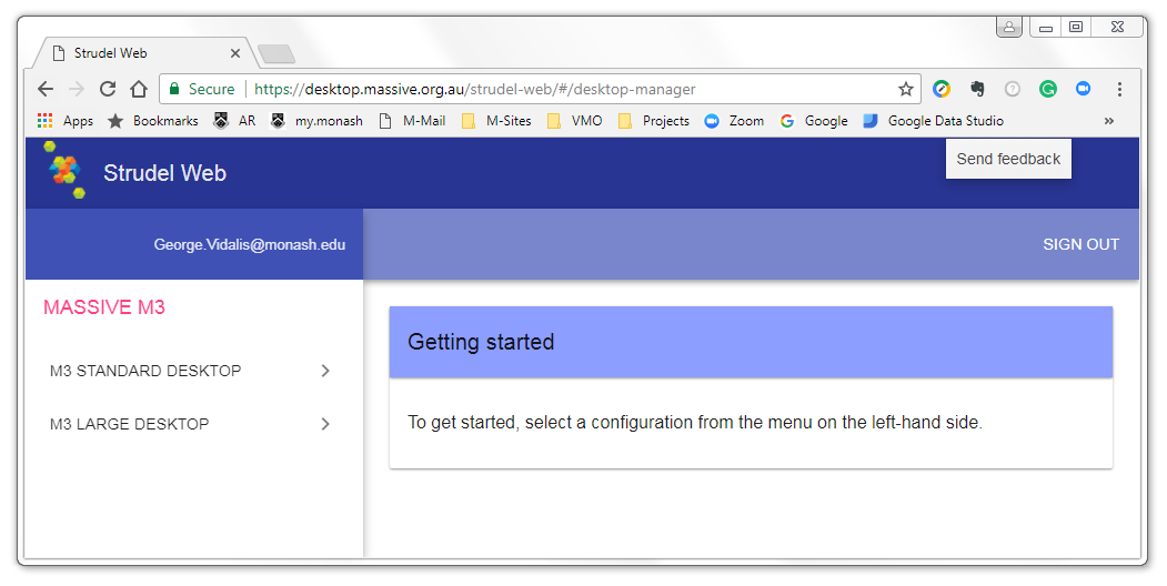 Screenshot of Strudel Web showing option to select a desktop configuration