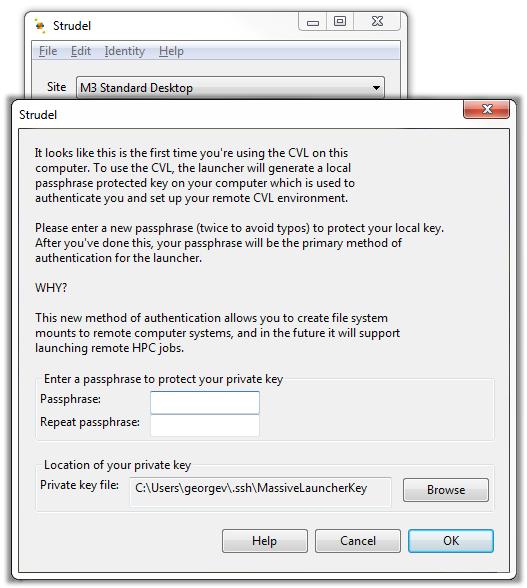Screenshot of Strudel Desktop enter passphrase modal