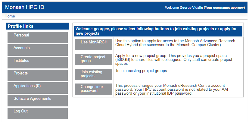 Screenshot of HPC ID account Hom page