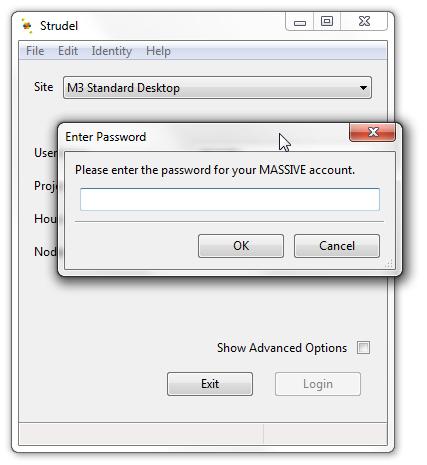 Screenshot of Strudel Desktop enter password screen