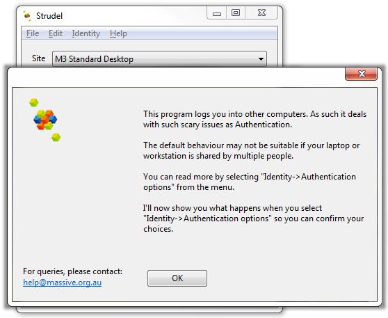 Screenshot of Strudel Desktop security options modal