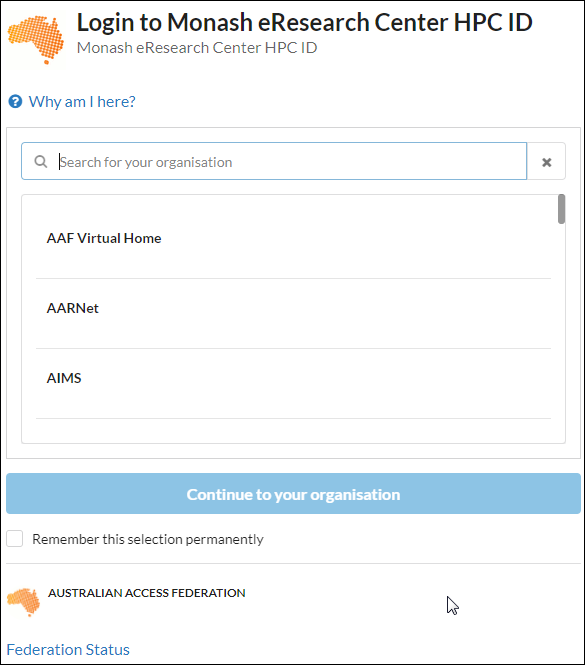 Screenshot of the HPC ID select your organisation form